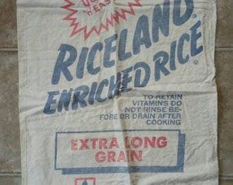 """Cool Vintage """"Riceland"""" Cotton Sack 100 lb. empty cotton sack"""