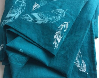 Boho Curtains, boho window, feathers, dark curtains, linen curtains, linen window treatment, custom printed, hand printed curtains