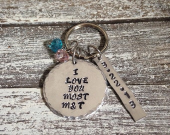 I love you most~ Couples initials~ Couples keychain~ Hand stamped keychain~ Keychaim