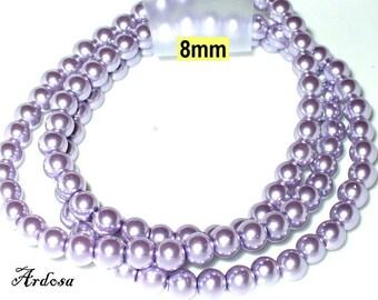 1 strand 82cm = 114 glass beads lilac light (808.17.1)