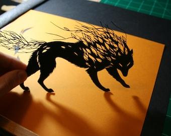 Original Paper Cutting - Wolf