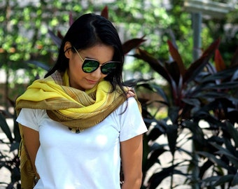 Thai Pashmina Scarf: Mellow Yellow