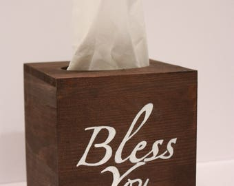 Wooden Tissue Box Cover - With or Without Lettering, Handmade, customized,
