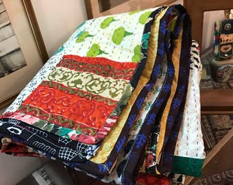 Beautiful Patchwork Handmade King Size Quilt 100% cotton-Reversible-Multipurpose-Ready to ship modern cotton quilts kantha quilt BDFR73