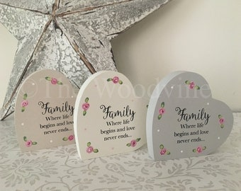 Family Quote Freestanding Hearts on side