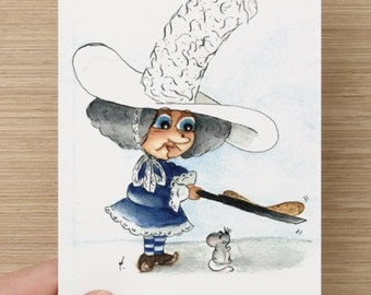 Witch Postcard, Fantasy Christmas card, Cute Greeting card