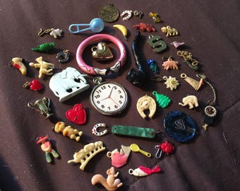 Celluloid Charms Gumball Jack in Box Prizes Trimkets Charm Collection German Vintage