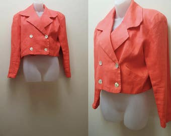 Vintage Cropped Jacket / 80s/90s Double Breasted Cropped Peach Linen Jacket
