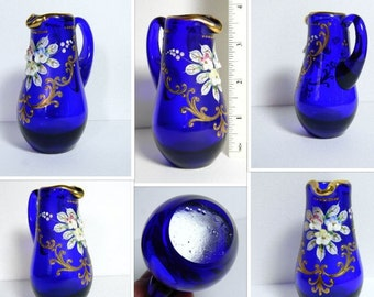 Antique Bohemian Cobalt Blue Glass Pitcher - Antique Bohemian Floral Painted Glass Pitcher Miniature - Antique Miniature Pitcher