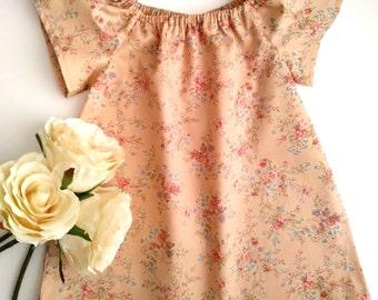 Peach floral girls dress, peasant dress, play dress, sun dress, boho baby clothes, bohemian girls clothes, girls dress, summer dress