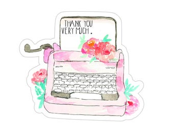 Typewriter Sticker, Thank You Sticker, Thank You Very Much, Watercolor Sticker, Etsy Stickers, Packaging Stickers, Etsy Supplies, 24QTY