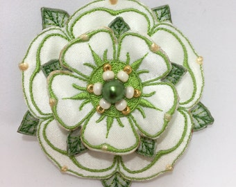 White rose, Yorkshire Rose brooch, White Rose of York, historical design, embroidered and hand crafted.