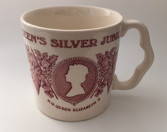 Vintage Mason's Ironstone Mug/Cup to Commemorate Queen Elizabeth II Silver Jubilee 1977