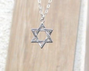 Star of David Necklace, Silver Star of David Necklace, Gold Filled Necklace, Magen David Necklace, Jewish Charm, Jewish Pendant, Judaica