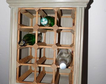 12 Bottle wall-mounted Wine Rack - painted wine rack - shabby wine rack - sage wine rack (stock#6569)