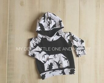 Dino Hoodie, made to order,hoodie,childrens clothing,hooded sweatshirt