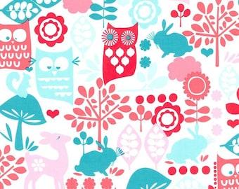 "Michael Miller Cottons  ""Forest Life""  Aqua    Cotton Fabric  Multi     1-Remnant"