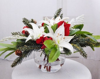 Red, white, silk, lily/lilies, faux/acrylic/illusion water, Real Touch flowers, floral arrangement, centerpiece, winter, Christmas, decor