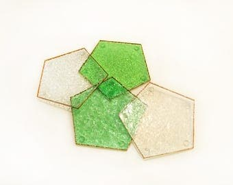 Recycled stained glass drink coasters, organic green set of 4
