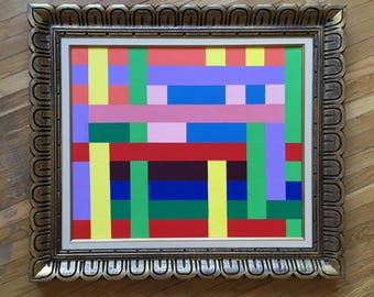"""Large Abstract Geometric Acrylic Painting on Canvas in Vintage Wood Frame - 32"""" x 27.5"""""""