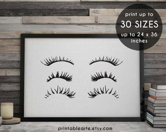 eyelashes, makeup print, eyelash print, fashion print, printable art, makeup art, beauty print, eyelashes art, wall art, eyelashes print, 6