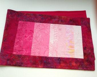 Pink batik table runner