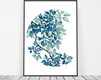 Leaf Print, Greenery, Leaf Art, Botanical Print, Plant Print, Green Nature Print, Tree Foliage Art, Green Leaves Photography, Tree Branch
