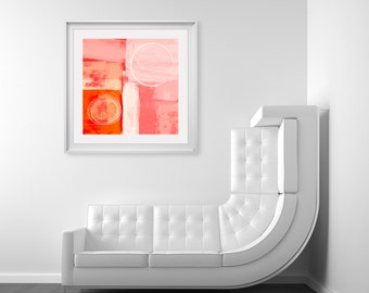 Pink & Orange Modern Art Print - Digital Art Giclee Prints For Home Decor, Art For Office Commercial And Interior Design Projects