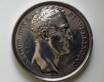 Mudie's silver medal for the Battle of Waterloo, 1815.
