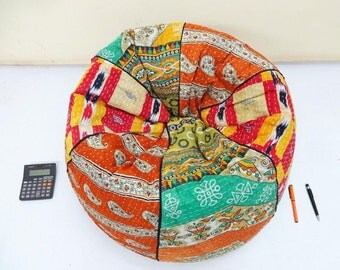 handmade cotton kantha quiltu0027s cut peice floral kids bean bag chair home decor round bohemian decorative embroidered ottoman pouf - Childrens Bean Bag Chairs