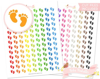 Baby Printable Planner Stickers Silhouette cut files, footprints baby shower, pregnancy planner sticker sheet. Personal Use  DIY Sticker PDF