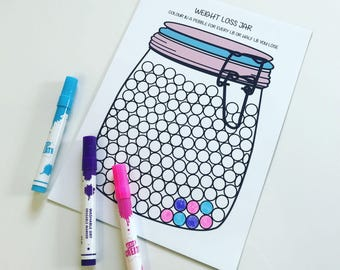 NEW A4  Magnetic Weight Loss Jar with Write on / Wipe off Laminate +  3 Dry Wipe Colouring Pens
