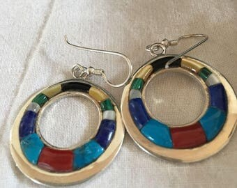 Native American Inlay Multicolor Turquoise Sterling Silver Earrings, Masha, USA