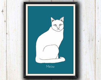Cat art print in 12 different colours/ Cat lover gift