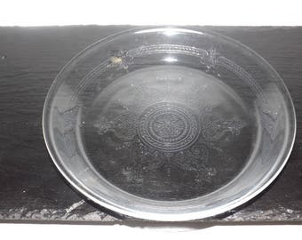 """Fire King glass embossed pie plate,9"""" pie plate,glass bakeware,vintage glass pie plate"""