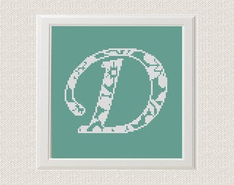 Only D letter Monogram Cross Stitch Pattern chevron Monogram Initial Alphabet D letter D Gift Home Decor House Warming An Instant Download