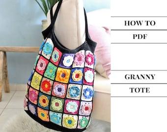 Crochet tote pattern, Crochet bag , Crochet handmade bag pattern, Colorful shoulder bag pattern, knitted bag pattern