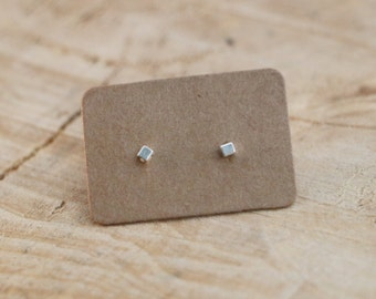 Square Stud Earrings | Tiny Square Studs | Sterling Silver Rectangle Earrings | Minimal Geometric Stud | Square Studs | Small Silver Studs