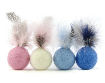 Felted wool feather ball cat toys in pastel colours