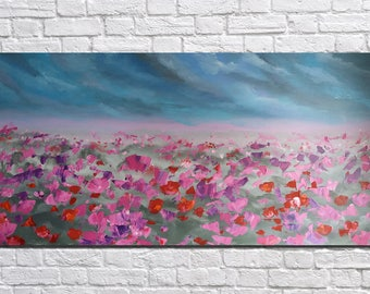 Landscape Original Painting colorful painting  Flower field Large Painting Large Wall Art Abstract painting Canvas wall art Impasto