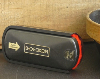 Vintage Esquire Black Plastic Shoe Groom with Black and Brown Shoe Polish and Shoe Brush, Traveling Case, Shine Box, Esquire Shoe Groomer