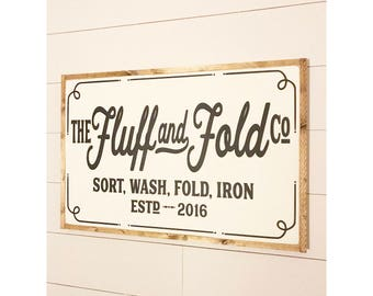 Fluff and Fold 2'x3', Home Decor, Laundry Room Decor, Laundry Room, Laundry Room Sign, Laundry Sign, Laundry, Wood Sign, Laundry Decor.