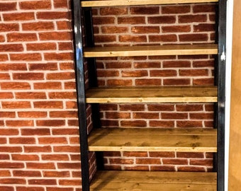 Stiga Steel Ladder Handmade Reclaimed Wood with Box Steel Support Shelving. Custom Made To Order.