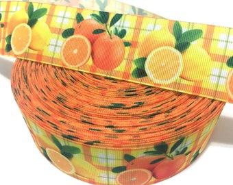 Fruit Orange Lemon Ribbon, Orange Ribbon, Fruit Orange grosgrain Ribbon, Fruit Lemon Grosgrain Ribbon