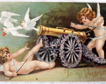 Postcard Vintage Valentine Cupids and Doves  Embossed- 1909