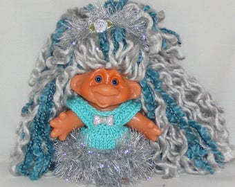 "Dam TROLL DOLL, 4.5"", New Hair and Eyes, Aqua and Silver Dress, Silver Panties, Hat"