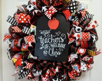 Teacher Appreciation Wreath, Apple Wreath, Classroom Wreath, School Door Hanger