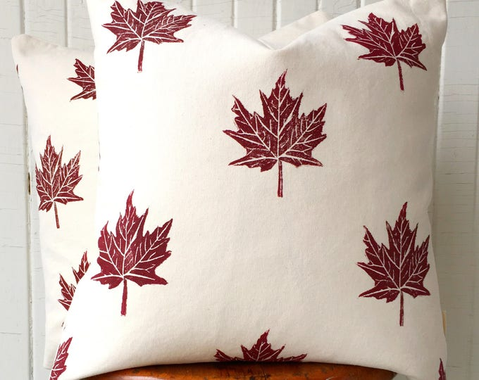 Organic pillow set, maple leaves in antique red, 18 inch square, handprinted, custom colours available, cottage decor gift throw pillow