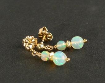 Welo opal earrings, Opal vintag small dainty earrings, earrings, small pearl earrings, ball ear studs