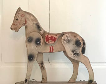 Vintage french wood pull horse toy